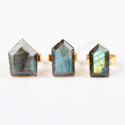 Gold Plated Natural Shield Natural Labradorite Ring G0553