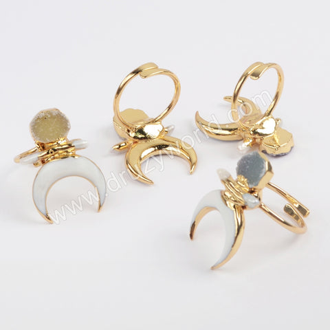 Gold Plated Crescent White Shell & Natural Agate Druzy Adjustable Ring G1861