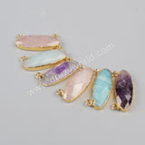 Gold Plated Long Egg Shape Multi-Kind Faceted Stones Connector Double Bails G0943