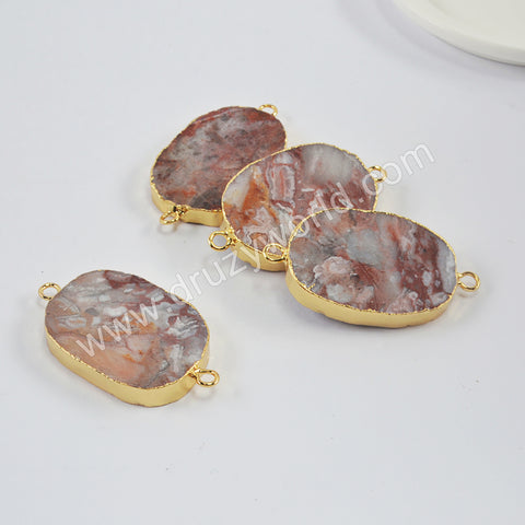 Gold Plated Mexican Crazy Lace Agate Connector G1994