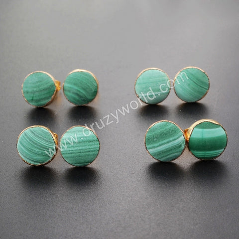 10mm Gold Plated Natural Frosted Round Chrysocolla Stud Earrings G1040