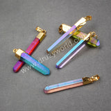 Gold Plated colorful Aura Quartz Titanium Crystal Point Pendant Bead