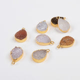 Gold Plated Natural Color Drop Druzy Geode Charm G0815