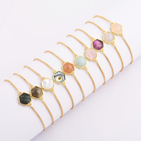 Natural Stone Amethyst Gold Bezel Connector Bracelet WX993