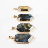 Gold Plated Shield Natural Labradorite Faceted Pendant Bead G0476