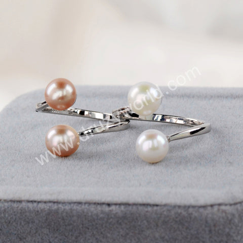 Natural Pearl Adjustable Ring 925 Sterling Silver WX1379