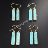 Gold Plated Rectangle Howlite Turquoise Dangle Earring G1020