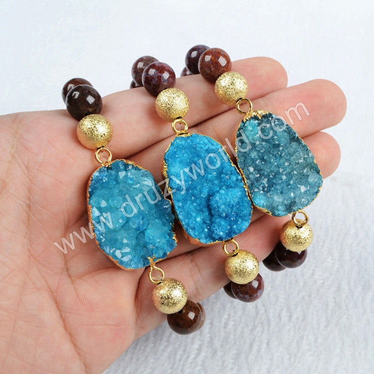 Gold Plated Blue Agate Druzy Geode Bracelet With 10mm Pietersite Gemstone Beads