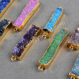 Gold Plated Rectangle Rainbow Natural Agate Druzy Geode Connector