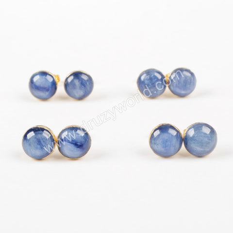 10mm Gold Plated Natural Round kyanite Stud Earrings G1039
