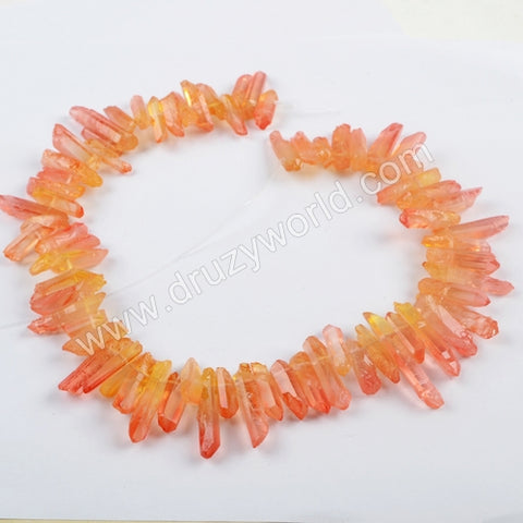 "16"" Short Orange Red Crystal Point Beads LS027"