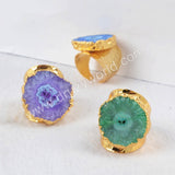 Gold Plated Rainbow Flower Solar Quartz Band Ring G0308