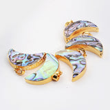 Gold Plated Abalone Shell Crescent Pendant Bead G0461