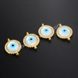 Gold Edge White Shell Round Zirconia 14mm Evil Eye Connector
