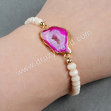 Gold Plated Hot Pink Agate Druzy Geode Slice & 6mm Cream Color Beads Bracelet