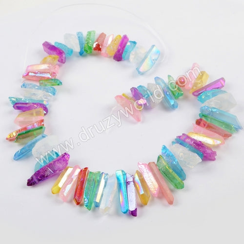 "16"" Short Rainbow Titanium Crystal Point Beads LS026"