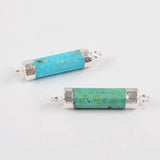 Natural Turquoise Point Faceted Connector Double Bails Silver Plated S1336