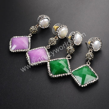 Round White Pearl Diamond Green/Purple Jade Faceted Stud Earrings Paved Zircon JAB340