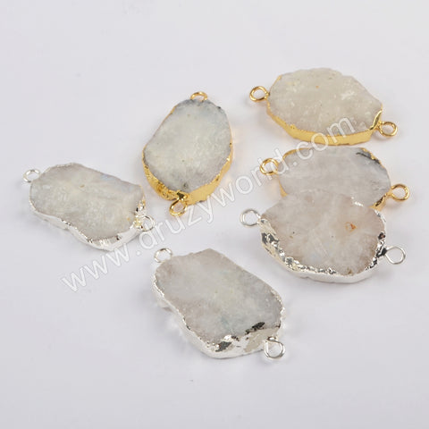 Moonstone Gemstone Connector For Jewelry Making Silver Plated S1820