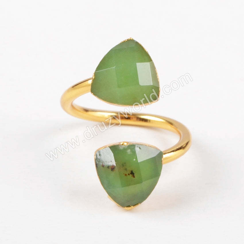 Gold Plated 10mm Triangle Faceted Australia Jade Adjustable Wrap Ring G1178