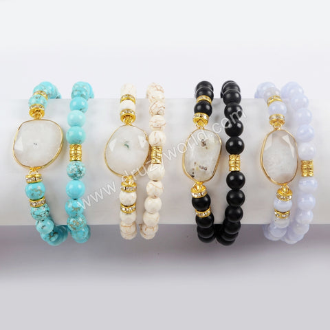 Gold Plated Natural White Solar Quartz Faceted With 8mm Stone Beads Layer Bracelet G1549