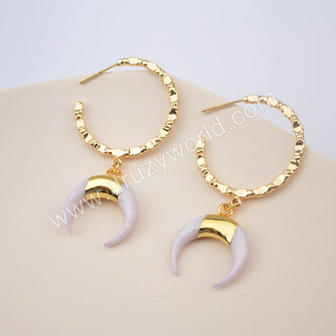 White Shell Crescent Statement Earrings For Women Gold Plated HD0185