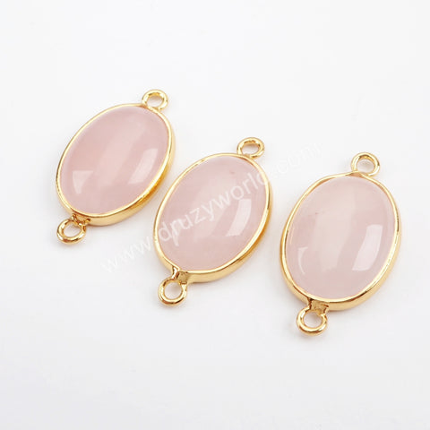 Gold Plated Natural Rose Quartz Connector G1539