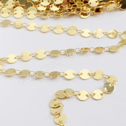 6mm Gold Plated Brass Coin Slice Chain PJ115-G
