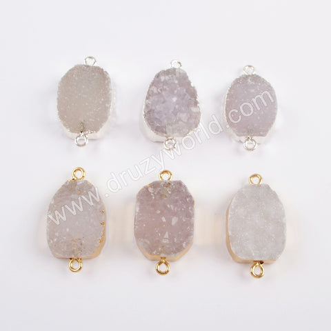 Gold Plated Natural Agate Druzy Connector G1821/S1821