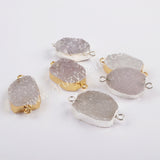 Natural Agate Druzy Connector Silver Jewelry Silver Plated S1821