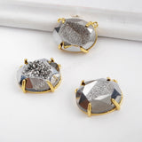 Egg Shape Gold Plated Claw Rainbow Titanium Druzy Faceted Connector ZG0315