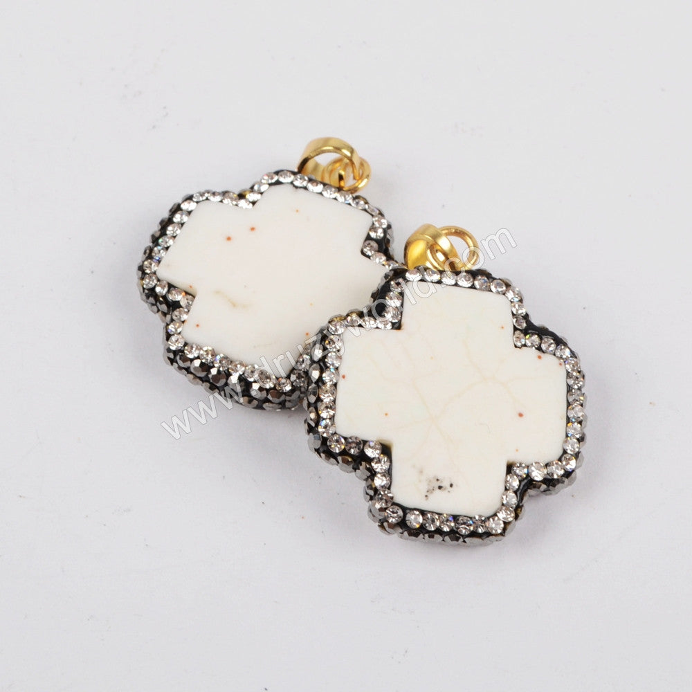 Rhinestone Pave Cross Natural White How-lite Turqouoise  Pendant JAB630
