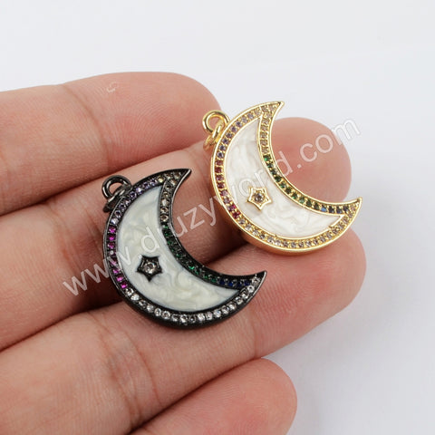 Spray Painted Micro Setting Crescent Pendant WX1230