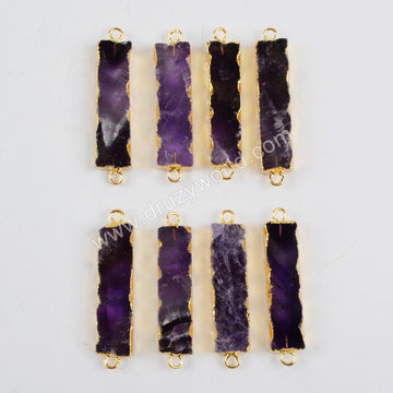 Rectangle Gold Plated Natural Amethyst Connector Double Bails G1337