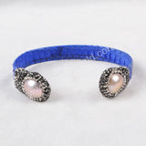 Double Pearl Bangle Wrapped Blue Snake Skin Paved Zircon JAB367