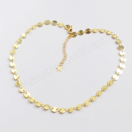"14"" Gold Plated Brass 6mm Coin Slice Chain Necklace PJ116-G"