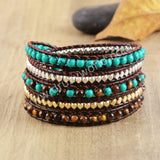 Hand Made Gypspy Bohemian Leather Gemstone Beaded Wrap Bracelet HD0103