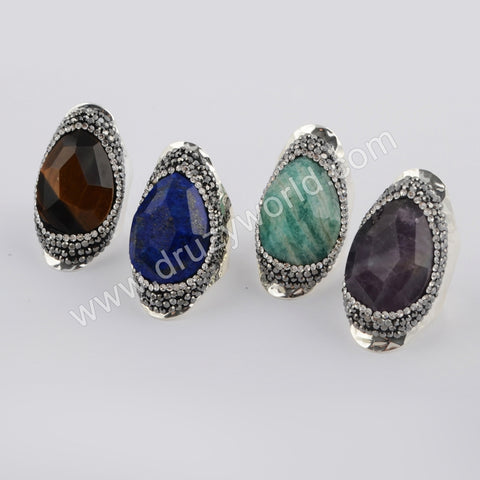 Tear Drop Rhinestone Pave Multi-kind Facted Stone Silver Ring JAB956-2