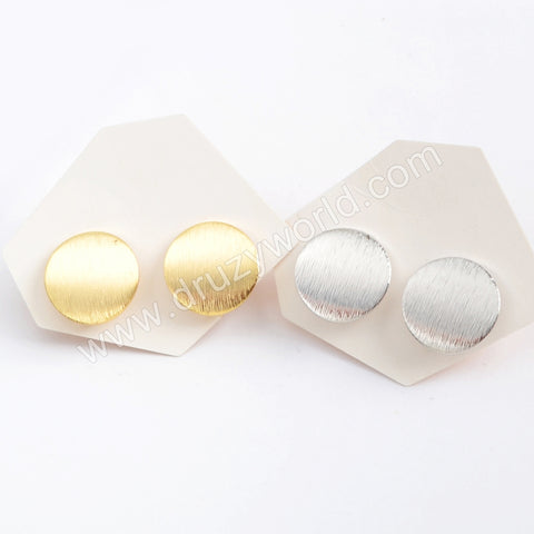 Gold/Silver Plated 15mm Matte Curved Round Post Charm PJ173