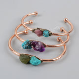 Gold Plated Natural Turquoise & Multi Stone With Pyrite Chips Bangle G1251/S1251/R1251