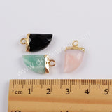 Horn Gold Plated Black Agate Faceted Charm G1822