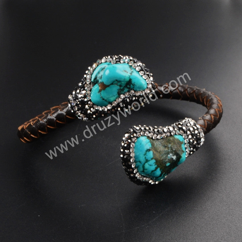 Double Turquoise Bangle Wrapped Brown Snake Skin Paved Zircon JAB369