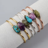 Gold Plated Multi Crystal Stones & Pyrite Bangle G1252/S1252/R1252