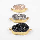 Gold Plated  Rainbow Blue Chalcedony Druzy Connector G1482