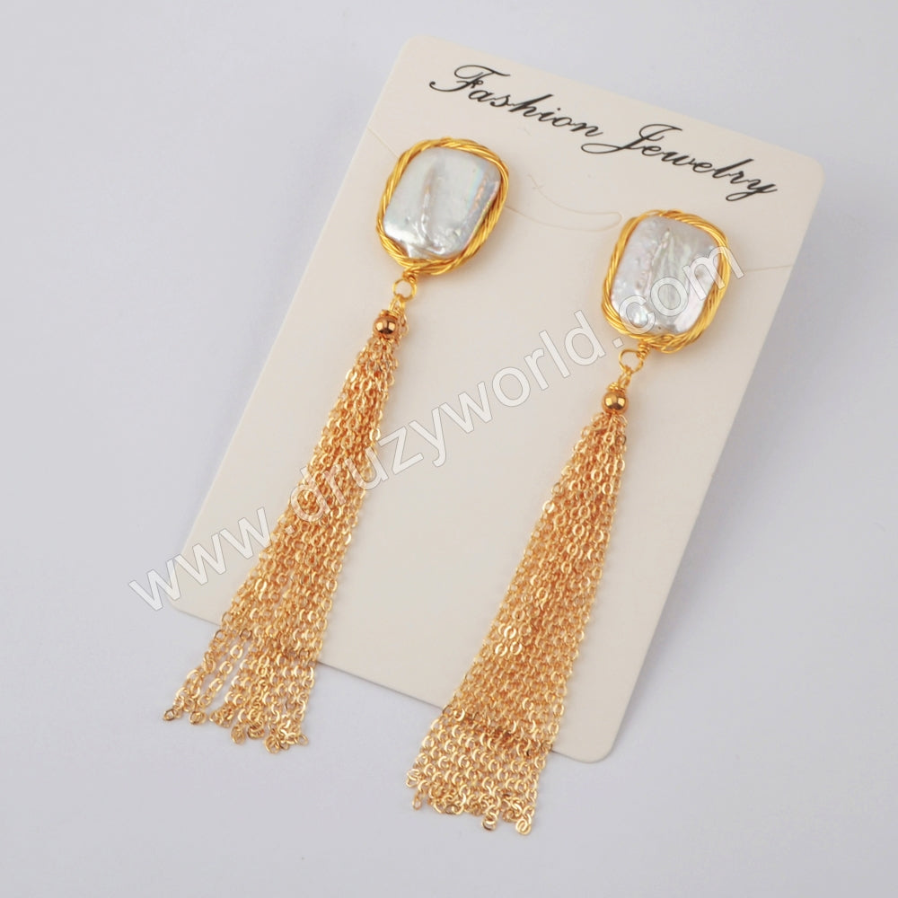 Rectangle Natural Pearl Wire Wrap Tassel Earrings WX1209