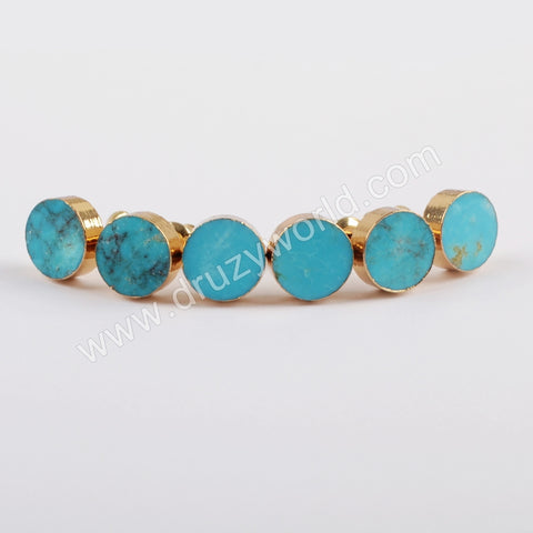 8mm Round Gold Plated Natural Turquoise Stud Earrings G1823