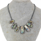 Rhinestone Pave Natural Abalone Shell 3mm Beads Necklace JAB575