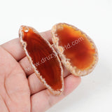 Freeform Red Onyx Agate Slice Pendant Bead G1307