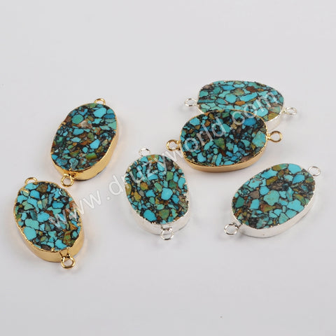 Copper Turquoise Connector Fashion Jewelry Making Silver Plated S1867