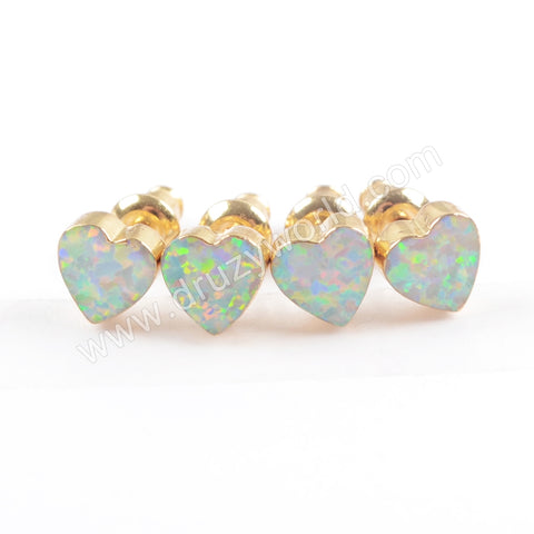 Heart Gold Plated White Opal Earring Studs G1710